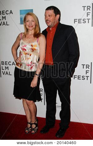 """NEW YORK - APRIL 21: Patricia Clarkson and producer Daniel Iron attends the 2011 TriBeCa Film Festival premiere of """"The Bang Bang Club"""" at the BMCC TriBeCa PAC on April 21, 2011 in New York City."""