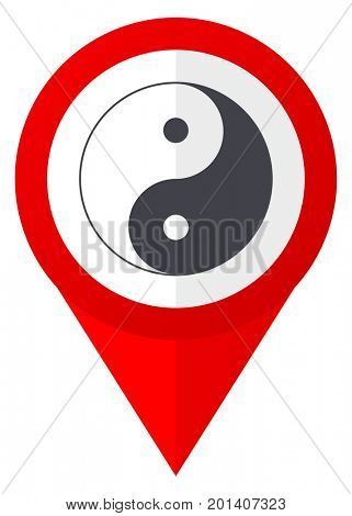 Ying yang red web pointer icon. Webdesign button on white background.
