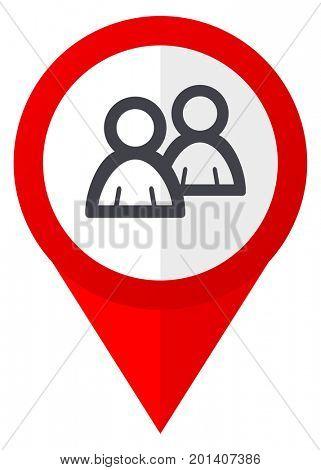Forum red web pointer icon. Webdesign button on white background.