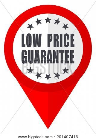 Low price guarantee red web pointer icon. Webdesign button on white background.