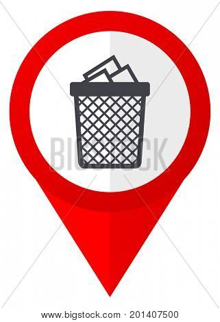 Trash can red web pointer icon. Webdesign button on white background.