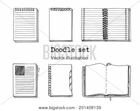 Vector Set of Sketch Notebooks Notepads and Diaries. Office stuff set. Hand drawing sketch vector illustration. Cool design elements for infographic web design background. School