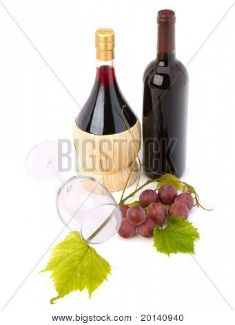 wine glass and two wine bottles  isolated on white background