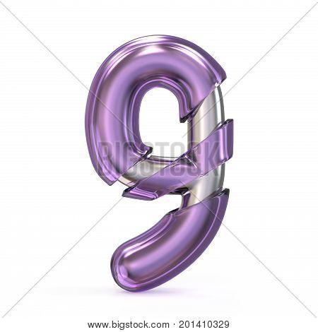 Purple Gem With Metal Core Font Number 9 Nine 3D