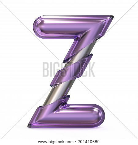 Purple Gem With Metal Core Font Letter Z 3D