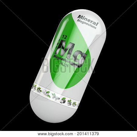 3D Illustration Of Mineral Mg Magnesium Green Shining Pill Capsule. Isolated Black