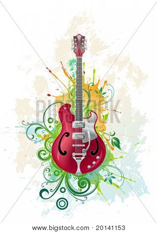 Vector electric guitar on a grunge floral background