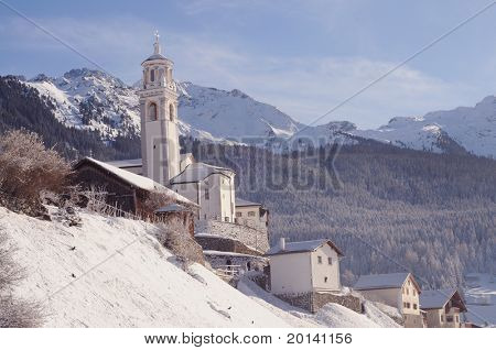 winter landscape with lovely old church