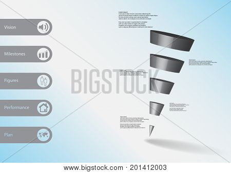 3D Illustration Infographic Template With Sloping Triangle Horizontally Divided To Five Grey Slices