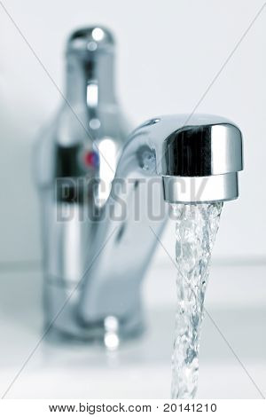 Flowing water from the tap