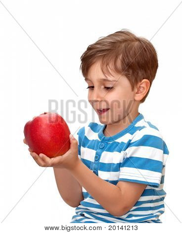 Portrait of a boy with an apple in his hand