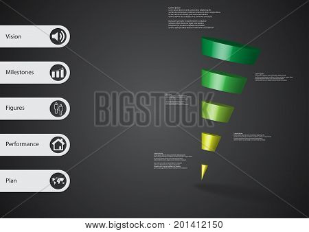 3D Illustration Infographic Template With Sloping Triangle Horizontally Divided To Five Green Slices
