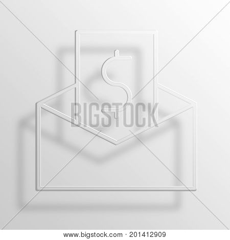 paycheck 3D Rendering Paper Icon Symbol Business Concept