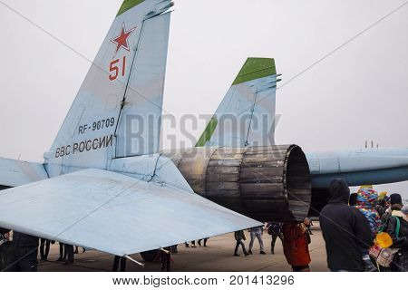 Military Aircraft Fighters And Other Aircraft At The Krasnodar Airfield. Exhibition Of Military Equi