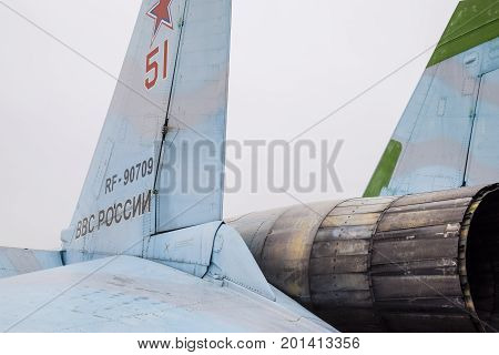 Krasnodar, Russia - February 23, 2017: The Rear Part Of The Su-35 Fighter. Steering Flaps. A Nozzle