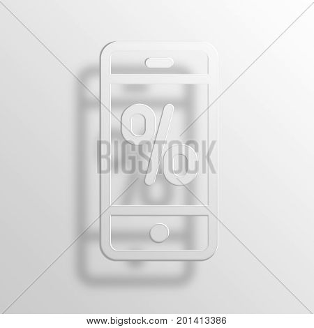 Percent Phone 3D Rendering Paper Icon Symbol Business Concept