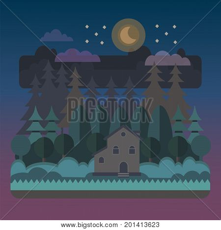 Night forest landscape with a house in flat style.Beautiful night forest scene.Vector modern flat design.