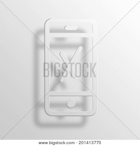 Phone 3D Rendering Paper Icon Symbol Business Concept