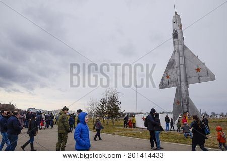 A Monument Of Fighter Aviation At The Krasnodar Airfield. Opening Of The Visit For Guests Of The Air