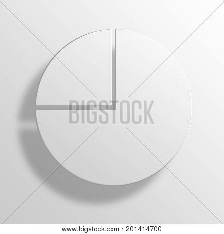 Pie Chart 3D Rendering Paper Icon Symbol Business Concept