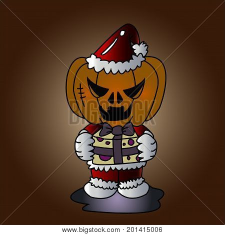 Vector image of Haunted pumpkin in Santa Cross dress with gift box in  Halloween concept.