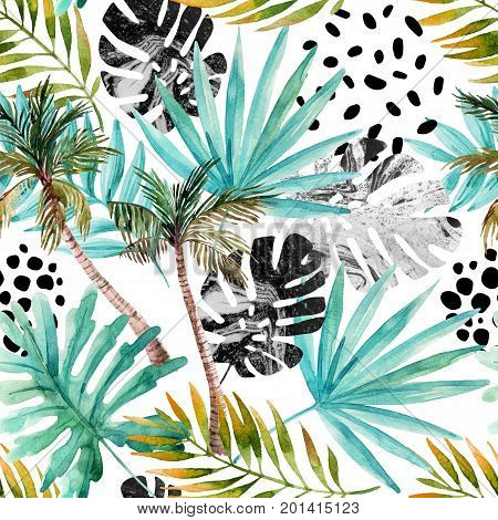 Nature seamless pattern. Hand drawn abstract tropical summer background: palm trees marbled monstera fan palm leaves squiggles dots in circle. Modern art illustration