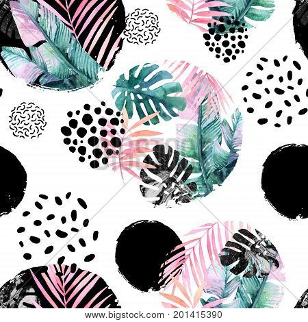 Abstract natural seamless pattern inspired by memphis style. Circles filled with tropical leaves doodle grunge texture. Hand painted watercolour illustration
