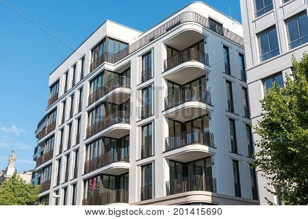 Modern downtown apartment house seen in Berlin, Germany