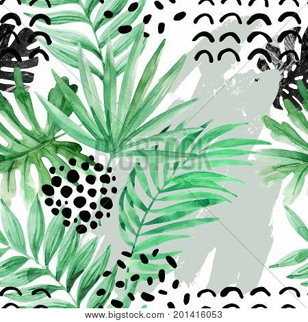 Abstract seamless pattern with watercolor exotic leaves and grunge texture. Green foliage. Modern background in minimal style. Hand drawn tropical illustration