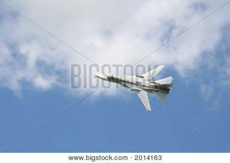 Soviet military aircraft SU-24M during airshow in Russia poster