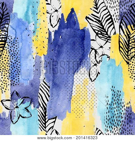 Geometric watercolor shape tropical leaf flower seamless pattern. Abstract drawing: palm leaves flower ink doodle brush stroke water color textures background. Hand painted striped illustration