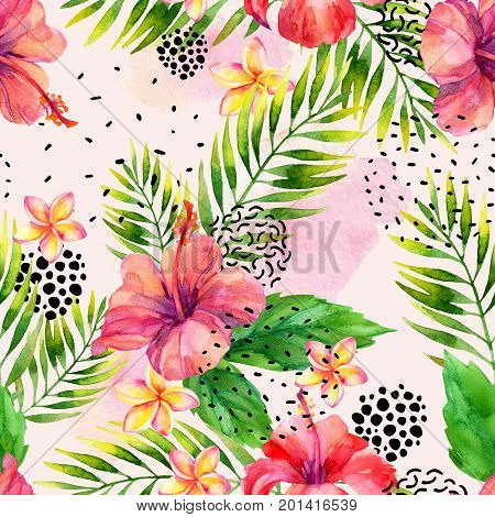 Watercolor tropical leaves and flowers arrangement background. Water color exotic floral elements ink doodle brush stroke minimal shapes seamless pattern. Hand painted colorful natural illustration