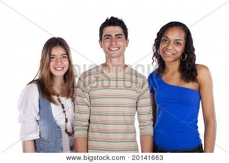 Three happy teenagers isolated on white