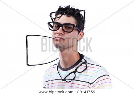 Young man full of eye glasses on his head (isolated on white)