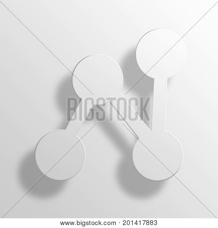 Graph Bold 3D rendering Paper Icon Symbol Business Concept