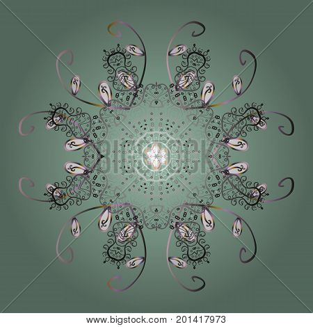 Vector illustration. Flat design with abstract snowflakes isolated on colors background. Snowflake colorful pattern. Vector snowflakes background. Snowflakes pattern.