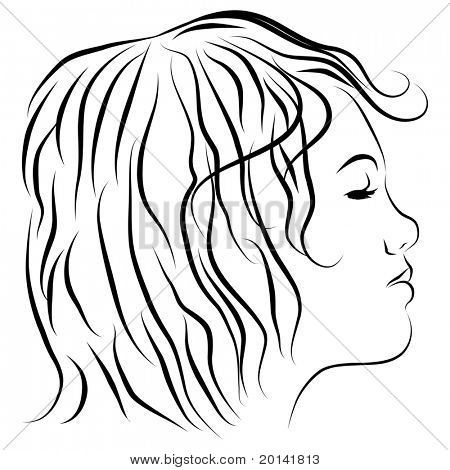 An image of a womans head profile line drawing.