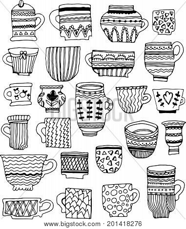 hand drawn doodle vector cups. set of various tea cups with different ornaments and textures.isolated