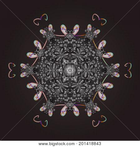 Snowflake ornamental pattern. Vector illustration. Flat design of snowflakes isolated on colorful background. Snowflakes background. Snowflakes pattern.