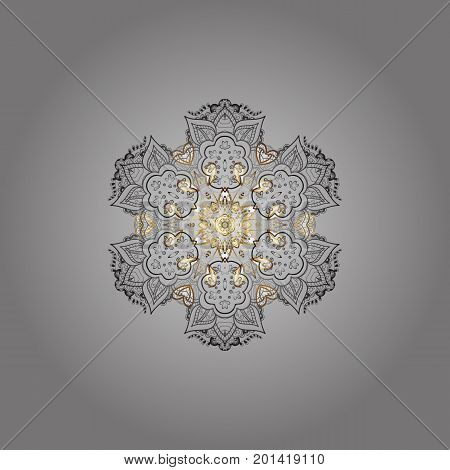 Hand-drawn stylish doodle in tatto style fabric design and cards in Vector illustration. Contour mandala shaped snowflakes for art therapy style zen drawing.