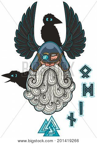 Cartoon Illustration of the Norse god Odin.