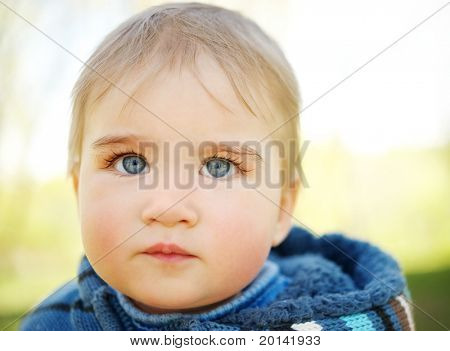 Beautiful baby portrait outdoors