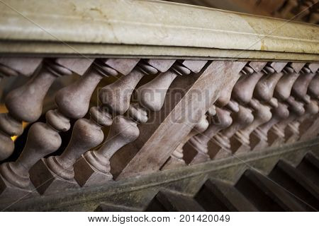Balusters in marble on a stone staircase in France