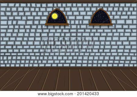 Empty room. Wall of brick Windows floor. The dungeon of the castle. Halloween. Cartoon. Vector.