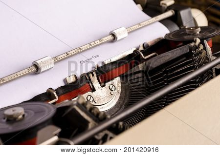 still life with typewriter. Beginning a new book. blogging text writing
