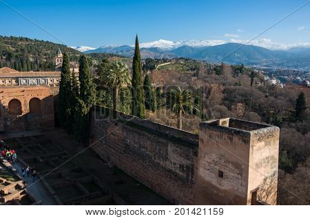 View Of Courtyard, Walls And Tower Of Alcazaba, Citadel Of Alhambra, Nasrid With Sierra Nevada Mount