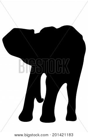 View on the silhouette of an african elephant - digitally hand drawn vector illustraion