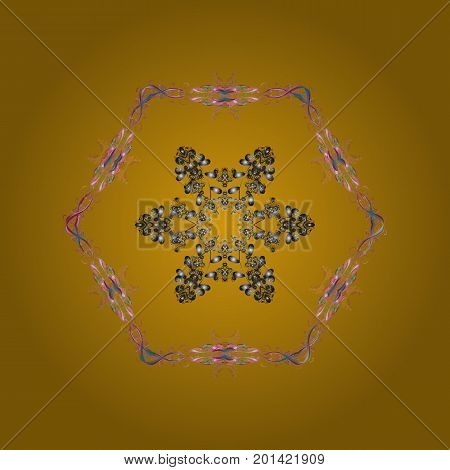 Snowflake ornamental pattern. Flat design with abstract snowflakes isolated on colorful background. Vector illustration. Snowflakes pattern. Snowflakes background.