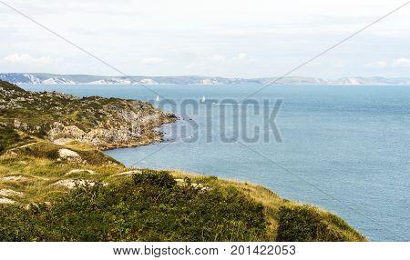 Dorset coastal scene adjacent 'old harry' with Studland to hrizon.