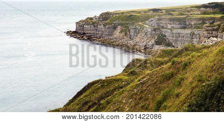 Dorset coast scene at Portland UK overlooking English channel